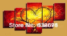 Red Yellow Couple Lovers Heart Tree Art Canvas Painting Oil Cheap Wall Art Decor Room Pictures Modern Abstract 5 Piece Sets