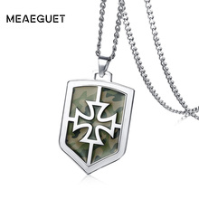 Meaeguet Cool Camouflage Knights Templar Iron Cross Pendant Necklace For Men Statement Stainless Steel Jewelry(China)