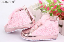 Baby Shoes Toddler Girls Soft Sole Pink White Rose Flowers Children Shoes Infant Lace Shoes(China)