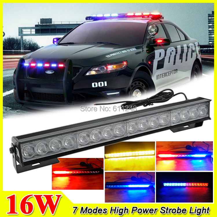 New 16W Hight Power Strobe Light Fireman Flashing Police Emergency Warning Fire Flash Stroboscope 12v Red Blue Led Police Lights<br><br>Aliexpress