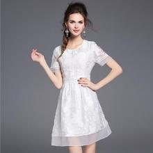 2017 Summer New European and American Fine Women's Jacquard Eugen Yarn Perspective White Lace Dress Female Casual Clothes Girls