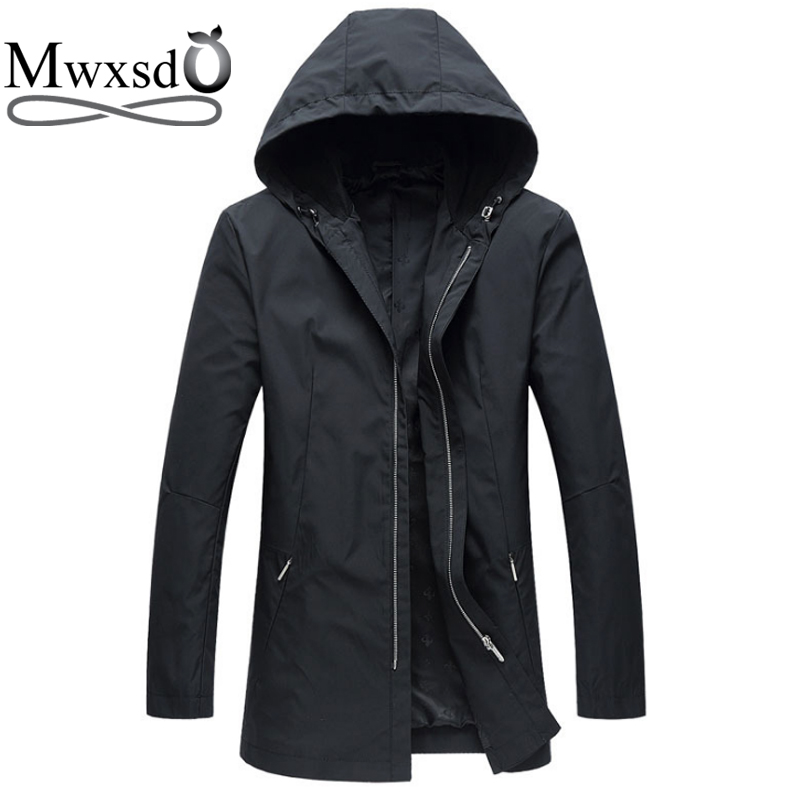 Mwxsd brand men casual hooded trench jacket and coat male middle long slim fit zipper overcoat male windbreak topcoat outwear