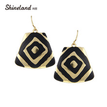 Shineland Luxury Fashion Gold/Silver Color 2017 New Women Accessories Black Enamel Statement Drop Earrings Rock Jewelry D34049(China)