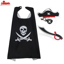 SPECIAL L 27 * child pirate costume cape mask elastic Sword brand toy boy gift  cloak skeleton Halloween costume decoration