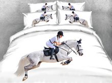 JF-115 Majestic White Horse and Rider Equestrian Theme 3d bedding set 4pcs horse print duvet cover(China)