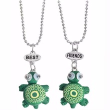 2 in set turtle beach summer kids baby children heart red best friends girl pendant necklace Jewelry fashion 7612