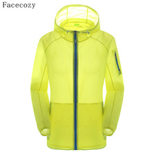Facecozy Lovers Summer Outdoor Jacket Women Quick Dry Hooded Transparent Fishing Coat Anti UV Camping Jackets