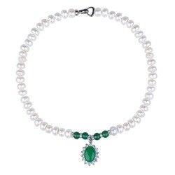 Женское ожерелье с жемчугами и зелёным агатом