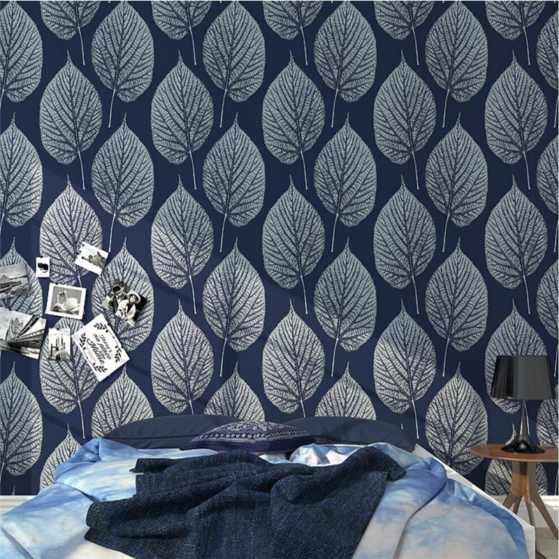 beibehang simple Nordic black and white leaves wallpaper foreign trade 3D stereo leaves bedside sofa TV background wallpaper<br>