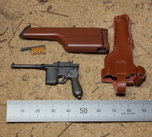 "1/6 WWII Mauser 1912 Pistol Carbine Gun with Holster Box In Black / Brown Weapons for 12"" Collectible Action Figure DIY"
