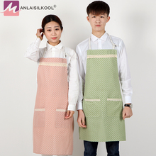 2017 New Wave Point Lace Double Pockets Kitchen Bib Apron for Woman Chef Restaurant Cooking Accessories Delantal Aprons Pocket(China)