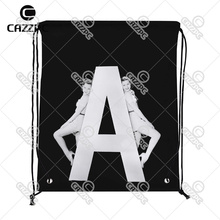 Black and White Women with Huge Letter A Print Custom individual Nylon Fabric Drawstring Shoes Storage Dust Bag Pack of 4()