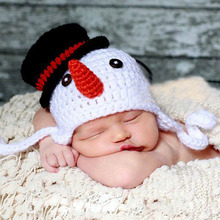 Snowman Handmade Knitted Baby Beanie Hat Crochet Pattern Children's Cap Earflap X Xmas Hat Photo Props Headwear H071
