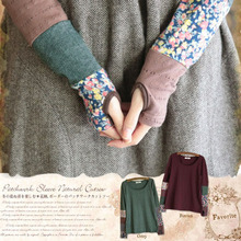 Buy Japanese Women Spring Sweet Long Sleeve Quilting Stitching Fingerless Stretch Hand Color Cute Kawaii Lolita Shirt Mori Girl D127 for $23.65 in AliExpress store