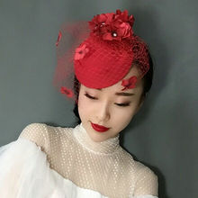 Traditional Chinese Red Petals Veil Top Hat Vintage Net Fedora Hat Hair Clip Wedding Party Bride Red Headwear Hair Accessories