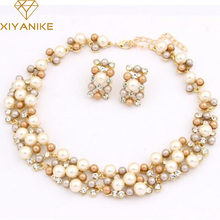 New Fashion Jewelry Set Necklace Statement Stud Earrings Women imitation pearl Jewelry Set For Women Wedding Jewelry N383(China)