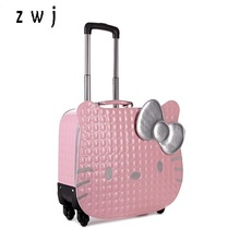 Hello kitty universal wheels trolley luggage travel bag suitcase child women leather luggage(China)