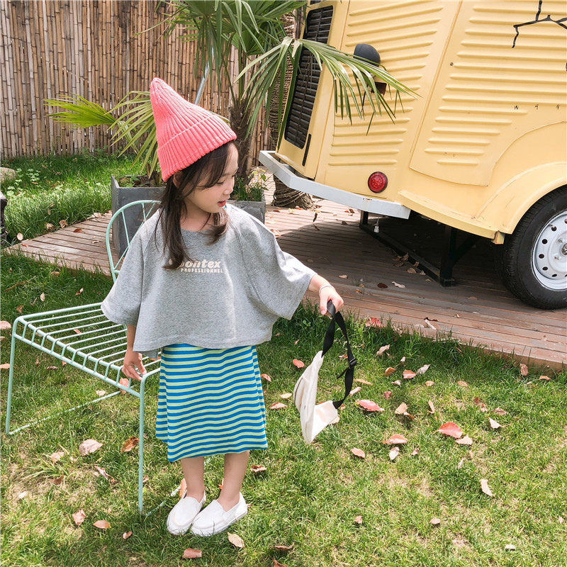 2019 children fashion summer loose casual suit T-shirt + striped skirt two-piece suit