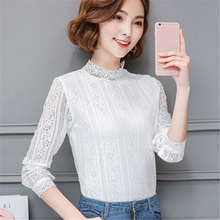 Buy Women Blouse Shirt 2017 Fashion Summer Chiffon Blouses Lace Shirts Long Sleeve Tops Stand Neck Office Plus Size Ladies Clothing for $10.89 in AliExpress store