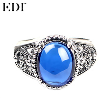 EDI 925 Sterling Silver & Marcasite Bohemian Pink/Blue Natural Gemstones Paved Female Ring Antique Thai Silver Ring Fine Jewelry