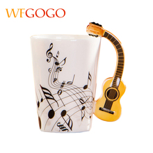 WFGOGO Ceramic mugs Cup Creative Music Note Milk Juice Lemon Mug Coffee Tea Cup fiddle Home Office Drinkware Unique Gift(China)