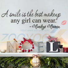 A Smile Is The Best Makeup creative quote wall decals ZooYoo8129 home decor removable vinyl wall stickers wallpaper