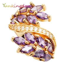 Yunkingdom elegant purple crystal party rings for women  fashion jewelry christmas gift ALP0602