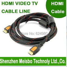 High density Preparation network Gold Plated plug flat 2m 6ft HD connector monitor 1.4V 1080P 3D hdmi cable(China)