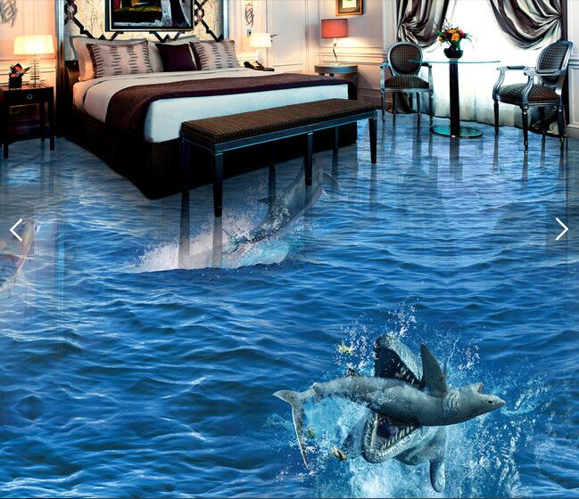 3d flooring custom waterproof wallpaper Sharks eat dolphins sea world 3d bathroom flooring picture photo wallpaper for walls 3d<br>