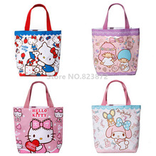 Cute Hello Kitty Canvas Lunch Bag for Girls Kids Melody Little Twin Stars Mini Small Lunch Box Bags Tote Kawaii Picnic Food Bag