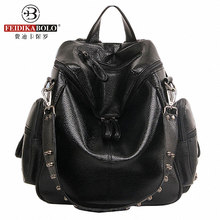 Multifunction Designer Backpacks Women Preppy Bookbags Mochilas Mujer Rivet Leather Backpack Lady Large Capacity Mochila Escolar