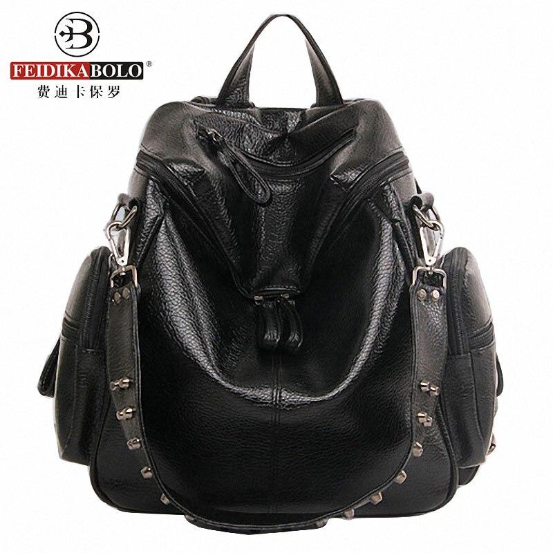 Multifunction Designer Backpacks Women Preppy Bookbags Mochilas Mujer Rivet Leather Backpack Lady Large Capacity Mochila Escolar<br><br>Aliexpress