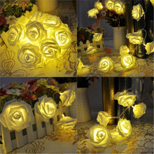 2M 20 LED Battery Operated Rose Flower String Lights Wedding Valentine Fairy Lamp Outdoor Garland Christmas Party Decoration