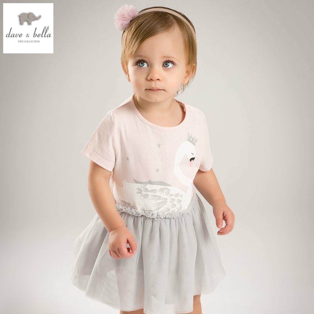 DB4822 dave bella summer baby girls dress infant clothes  toddle dress baby beautiful swan dress kid 1 pc fashionable<br>