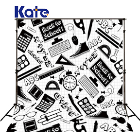 Kate Study Style Background Photography Black White Word Mathematical Tools Learn Knowledge Photo Backdrop For Baby<br>