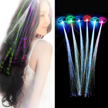 12pcs Creative LED Fiber Optic Light Pumpkin Fake Hair Braid Halloween Christmas Costume Party Fancy Ball Headwear Decoration(China)