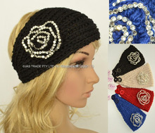 Women Knitted Crochet Acrylic Headband Hairband Headwrap With Rhinestone Flower Decoration(China)