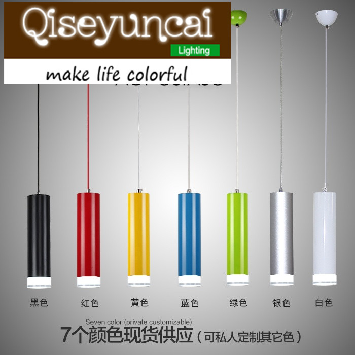 Qiseyuncai Modern minimalist creative restaurant led chandelier fashion  loft  cylinder long cylinder single head lamp<br>