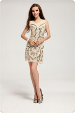 hot sale fashion perfect beige paillette slim tank causal brand dress women KR1016(China)