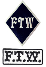 FTW Diamond Black White Harley Davidson Outlaw Biker Embroidered Patch Cheap Iron Sew On Badges 3.5-4INCH Free Shipping