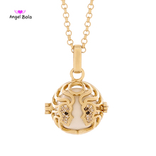 Angel Bola Wholesale 10Pcs Gemini Pregnant Perfume Necklace Pendant DIY Sound Ball Jewelry With Stainless Steel Chain L138