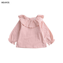 Milancel 2017 Autumn New Girls Blouse Baby Girls Solid Tops Flower Collar Blouse for Kids Cute Best Base Shirt Children Blouses(China)