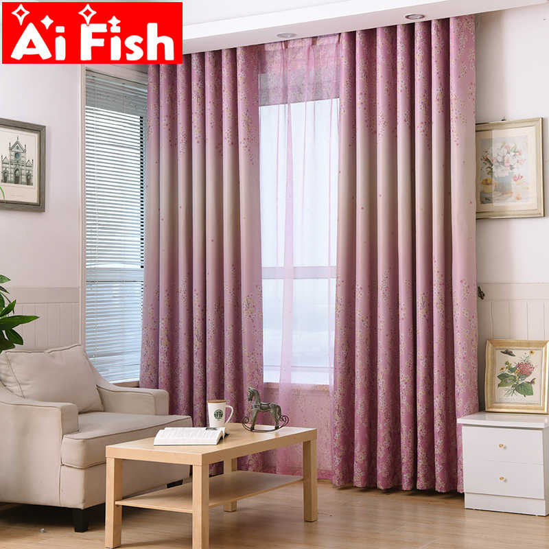 Countryside Romantic Pink Print Shade Window Curtains For Living Room Blue Lavender Tulle Curtain Fabric Home Curtains DF030-40