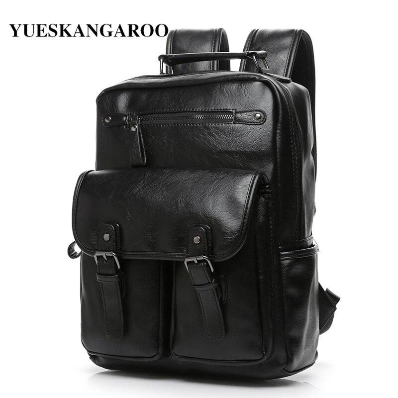 YUES KANGAROO Brand Leather Men School Backpack College Simple Design Travel Shoulder Bag Male Casual Laptop Daypacks Mochila<br>