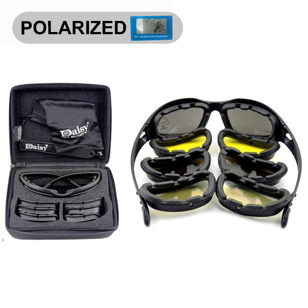 Daisy C5 Polarized Army Goggles, Military Sunglasses 4 Lens Kit, Mens Desert Storm War Game Tactical Glasses Sporting<br><br>Aliexpress