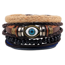 Punk MultiLayer DIY Braided Leather Wide Bracelets Retro Feather Eye Wooden Beads Braclet For Male Boy Cool Bijoux(China)