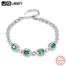 JQUEEN Nano Russian Emerald Charm Bracelet Water Drop Shape 925 Sterling Silver Bracelets Wedding Jewelry Bracelets For Women(China)