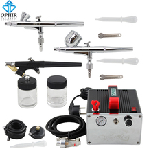 OPHIR 0.2&0.3&0.8mm Airbrush Kit with Air Compressor 110V,220V Airbrush Set Kit for Nail Art Temporary Tattoo_AC091+004A+071+073(China)