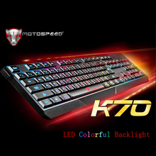 MOTOSPEED K70 USB Wired 104 Keys Gaming E-sport Keyboard LED Colorful Backlight Illuminated for PC Laptop Notebook