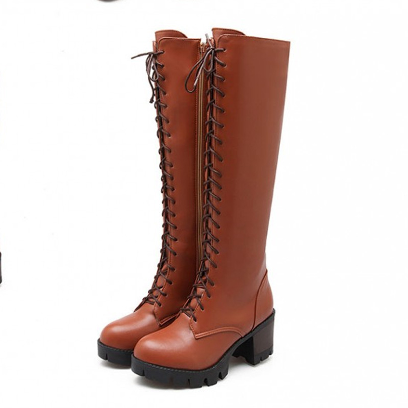 New Knee High Ridding Boots For Women Side Zipper Flat Women High Boots Ladies Motorcycle Boots Spring Autumn Shoes  <br>